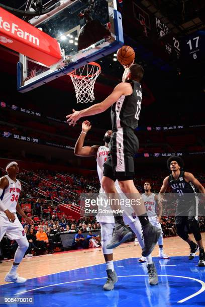 Joe Harris of the Brooklyn Nets drives to the basket during the game against the Detroit Pistons on January 21 2018 at the Little Caesars Arena in...