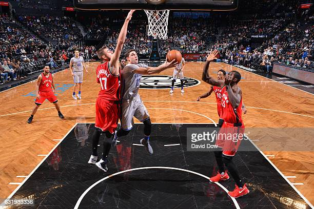 Joe Harris of the Brooklyn Nets goes for a lay up against the Toronto Raptors during the game on January 17 2017 at Barclays Center in Brooklyn New...