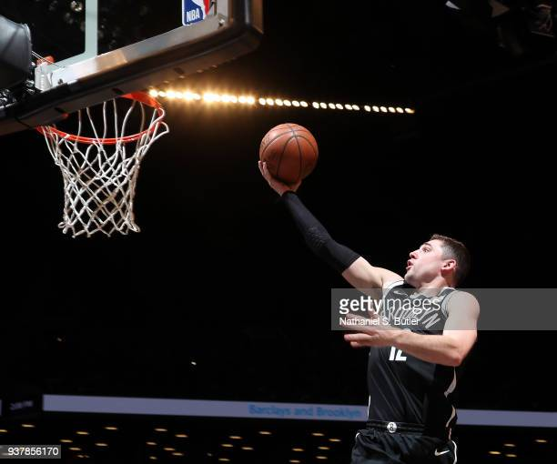 Joe Harris of the Brooklyn Nets goes to the basket against the Cleveland Cavaliers on March 25 2018 at Barclays Center in Brooklyn New York NOTE TO...