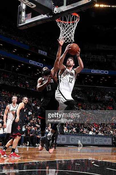 Joe Harris of the Brooklyn Nets goes up for a lay up against the Houston Rockets on January 15 2017 at Barclays Center in Brooklyn New York NOTE TO...