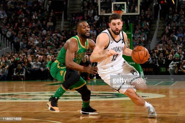 Joe Harris of the Brooklyn Nets handles the ball against the Boston Celtics on November 27 2019 at the TD Garden in Boston Massachusetts NOTE TO USER...