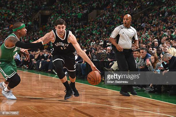 Joe Harris of the Brooklyn Nets handles the ball against the Boston Celtics on OCTOBER 26 2016 at the TD Garden in Boston Massachusetts NOTE TO USER...