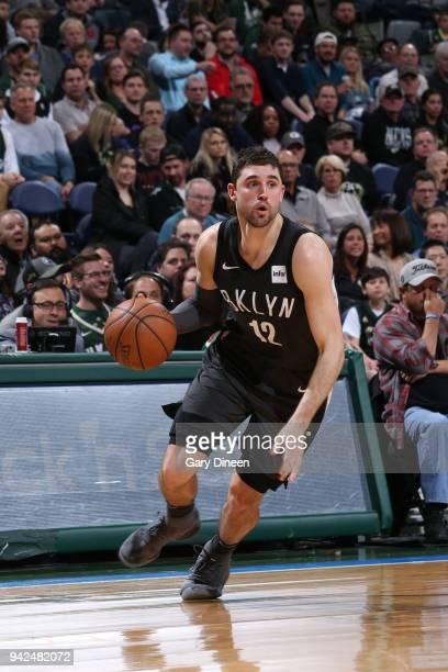 Joe Harris of the Brooklyn Nets handles the ball against the Milwaukee Bucks on April 5 2018 at the BMO Harris Bradley Center in Milwaukee Wisconsin...