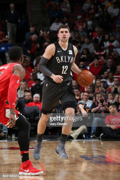 Joe Harris of the Brooklyn Nets handles the ball against the Chicago Bulls on April 7 2018 at the United Center in Chicago Illinois NOTE TO USER User...
