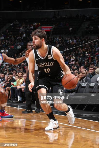 Joe Harris of the Brooklyn Nets handles the ball against the Detroit Pistons on October 31 2018 at Barclays Center in Brooklyn New York NOTE TO USER...