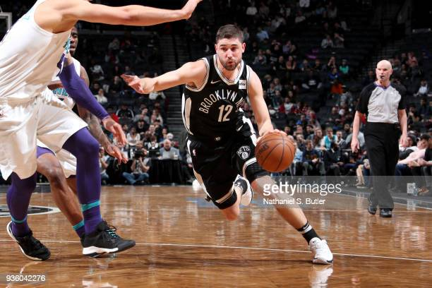 Joe Harris of the Brooklyn Nets handles the ball against the Charlotte Hornets on March 21 2018 at Barclays Center in Brooklyn New York NOTE TO USER...