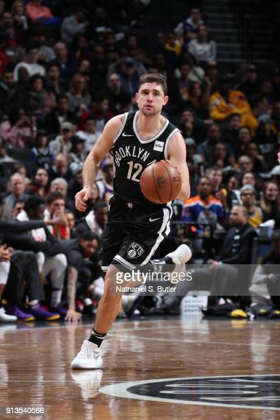 Joe Harris of the Brooklyn Nets handles the ball against the Los Angeles Lakers on February 2 2018 at Barclays Center in Brooklyn New York NOTE TO...