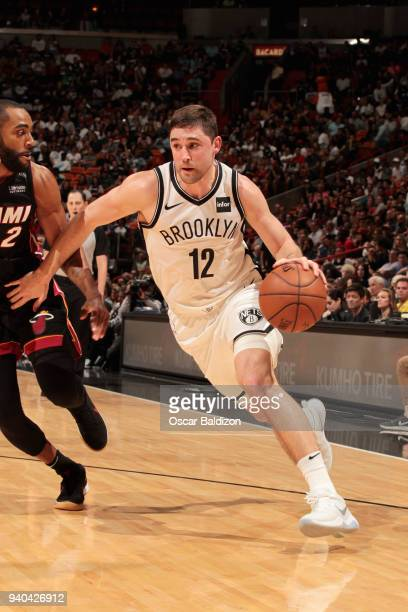 Joe Harris of the Brooklyn Nets handles the ball against the Miami Heat on March 31 2018 at American Airlines Arena in Miami Florida NOTE TO USER...