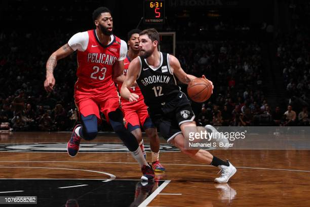 Joe Harris of the Brooklyn Nets handles the ball against the New Orleans Pelicans on January 2 2019 at Barclays Center in Brooklyn New York NOTE TO...