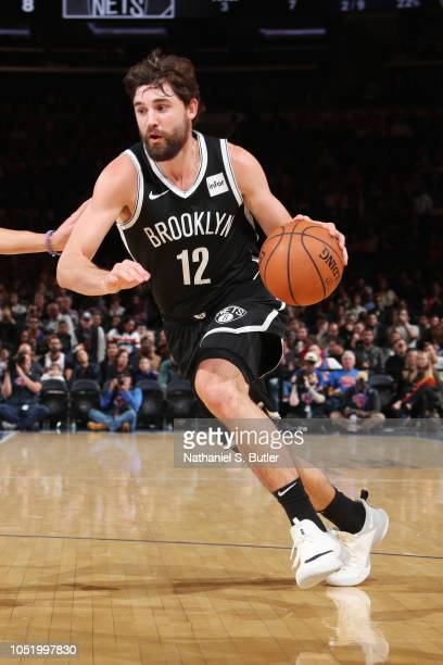 Joe Harris of the Brooklyn Nets handles the ball against the New York Knicks on October 12 2018 at Madison Square Garden in New York City New York...