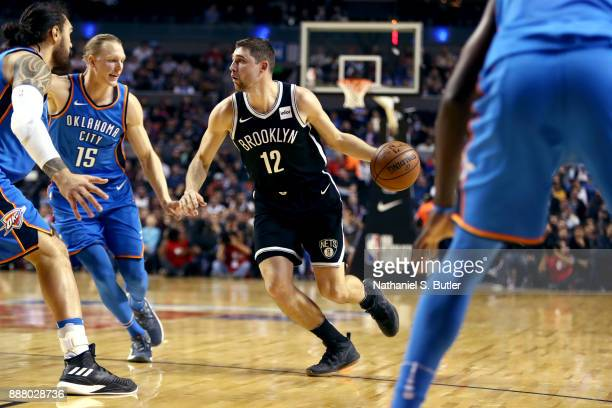 Joe Harris of the Brooklyn Nets handles the ball against the Oklahoma City Thunder as part of the NBA Mexico Games 2017 on December 7 2017 at the...