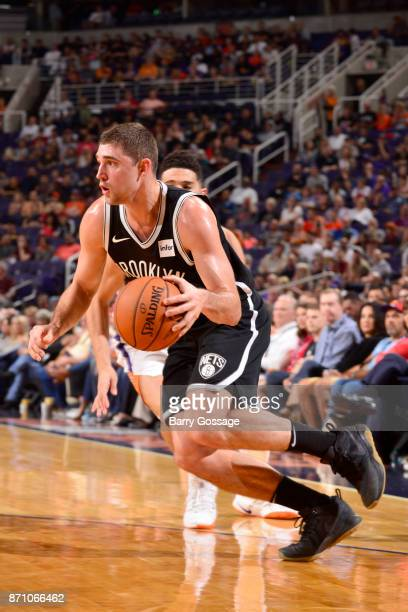 Joe Harris of the Brooklyn Nets handles the ball against the Phoenix Suns on November 6 2017 at Talking Stick Resort Arena in Phoenix Arizona NOTE TO...