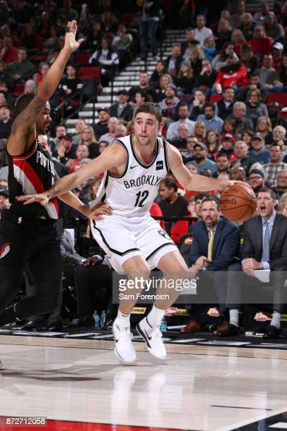 Joe Harris of the Brooklyn Nets handles the ball against the Portland Trail Blazers on November 10 2017 at the Moda Center in Portland Oregon NOTE TO...
