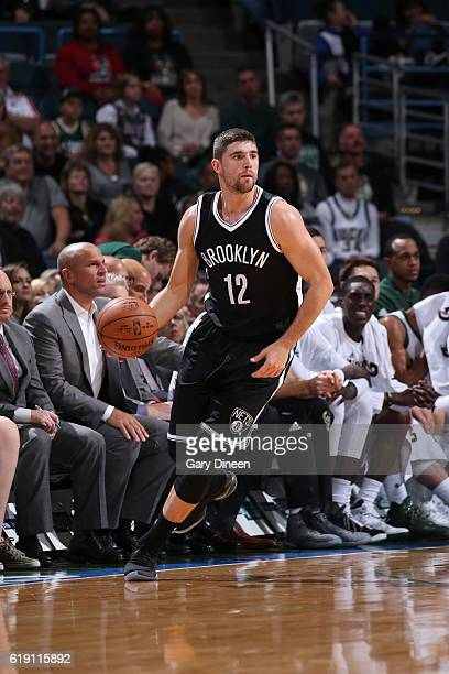 Joe Harris of the Brooklyn Nets handles the ball during a game against the Milwaukee Bucks on October 29 2016 at BMO Harris Bradley Center in...