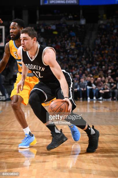 Joe Harris of the Brooklyn Nets handles the ball during a game against the Denver Nuggets on February 24 2017 at the Pepsi Center in Denver Colorado...