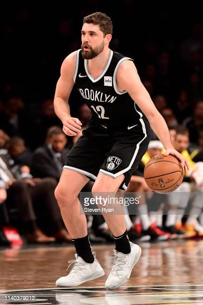 Joe Harris of the Brooklyn Nets handles the ball on offense against the Milwaukee Bucks at Barclays Center on April 01 2019 in New York City The...
