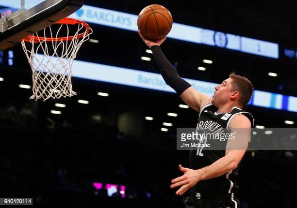 Joe Harris of the Brooklyn Nets in action against the Cleveland Cavaliers at Barclays Center on March 25 2018 in the Brooklyn borough of New York...