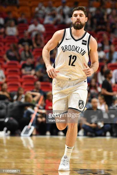Joe Harris of the Brooklyn Nets in action against the Miami Heat at American Airlines Arena on March 2 2019 in Miami Florida NOTE TO USER User...