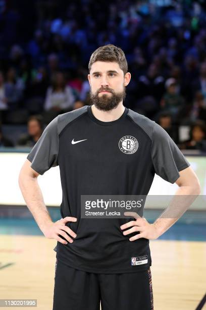 Joe Harris of the Brooklyn Nets is about to be presented with the trophy after winning the MTN DEW 3Point Contest as part of the 2019 NBA AllStar...