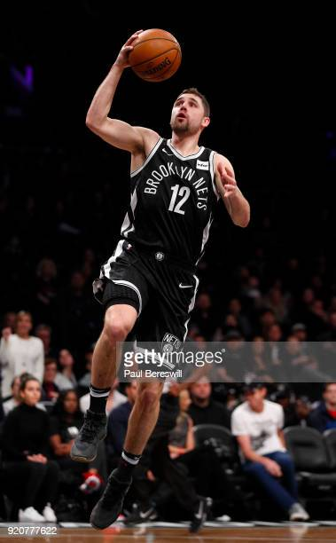 Joe Harris of the Brooklyn Nets lays up a shot in an NBA basketball game against the Los Angeles Clippers on February 12 2018 at Barclays Center in...