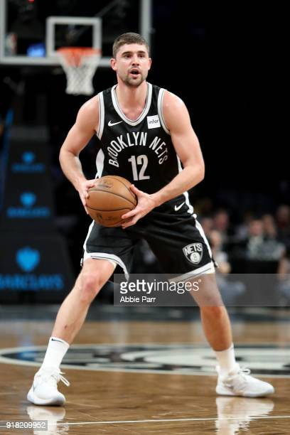 Joe Harris of the Brooklyn Nets looks down the court against the New Orleans Pelicans in the first quarter during their game at Barclays Center on...
