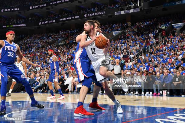 Joe Harris of the Brooklyn Nets looks to pass during Game One of Round One of the 2019 NBA Playoffs on April 13 2019 at the Wells Fargo Center in...