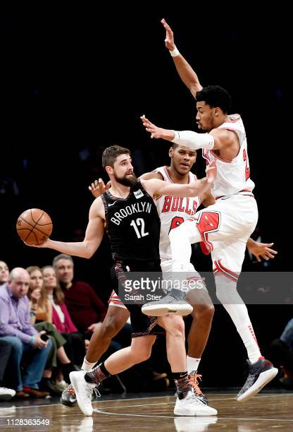 Joe Harris of the Brooklyn Nets looks to pass during the second half of the game against the Chicago Bulls at Barclays Center on February 08 2019 in...