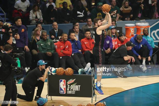 Joe Harris of the Brooklyn Nets participates in the 2019 Mtn Dew 3Point Contest as part of State Farm AllStar Saturday Night on February 16 2019 at...