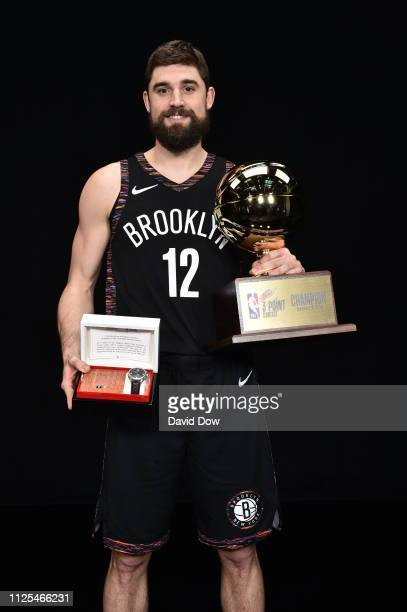 Joe Harris of the Brooklyn Nets poses for a portrait after winning the 2019 Mtn Dew 3Point Contest during the 2019 NBA All Star Saturday Night on...