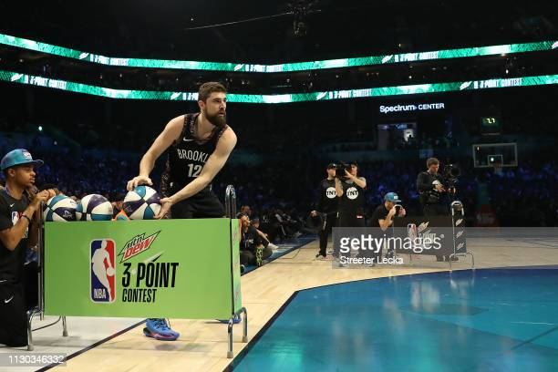 Joe Harris of the Brooklyn Nets prepares to shoot during the MTN DEW 3Point Contest as part of the 2019 NBA AllStar Weekend at Spectrum Center on...