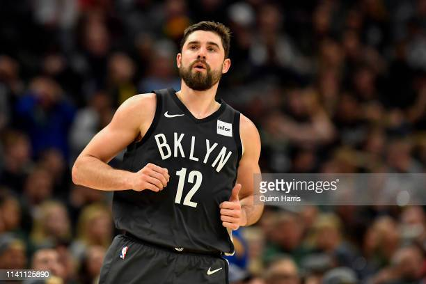 Joe Harris of the Brooklyn Nets reacts after scoring in the second half against the Milwaukee Bucks at Fiserv Forum on April 06 2019 in Milwaukee...