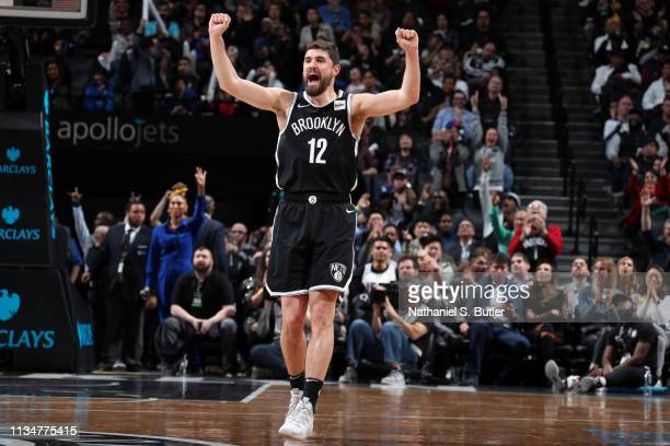 Joe Harris of the Brooklyn Nets reacts against the Toronto Raptors on April 3 2019 at Barclays Center in New York City New York NOTE TO USER User...