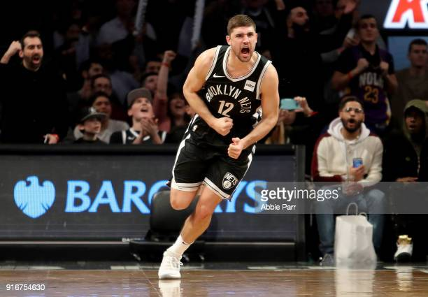 Joe Harris of the Brooklyn Nets reacts during overtime against the New Orleans Pelicans during their game at Barclays Center on February 10 2018 in...