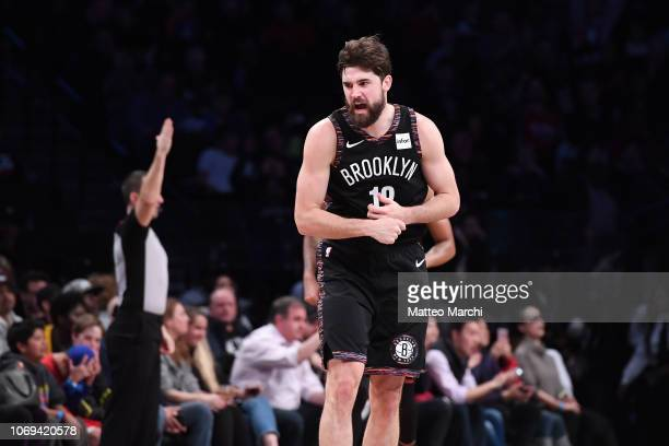 Joe Harris of the Brooklyn Nets reacts during the game against the Los Angeles Clippers at Barclays Center on November 17 2018 in the Brooklyn...