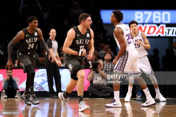 Joe Harris of the Brooklyn Nets reacts in the fourth quarter against the Sacramento Kings during their game at Barclays Center on December 20 2017 in...