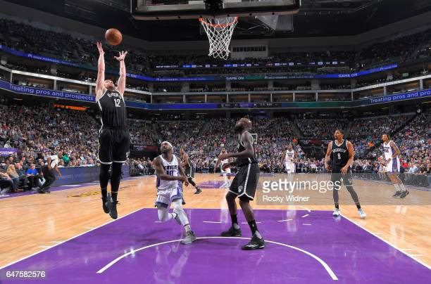 Joe Harris of the Brooklyn Nets rebounds against the Sacramento Kings on March 1 2017 at Golden 1 Center in Sacramento California NOTE TO USER User...