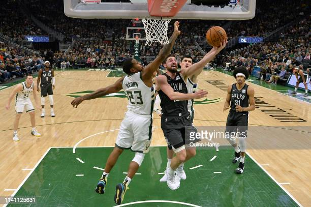Joe Harris of the Brooklyn Nets shoots a lay up in the first half against the Milwaukee Bucks at Fiserv Forum on April 06 2019 in Milwaukee Wisconsin...
