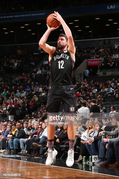 Joe Harris of the Brooklyn Nets shoots a threepointer during the game against the Washington Wizards on December 14 2018 at Barclays Center in New...
