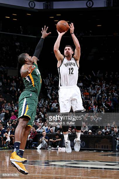 Joe Harris of the Brooklyn Nets shoots during a game between the Utah Jazz and the Brooklyn Nets on January 02 2017 at Barclays Center in Brooklyn NY...