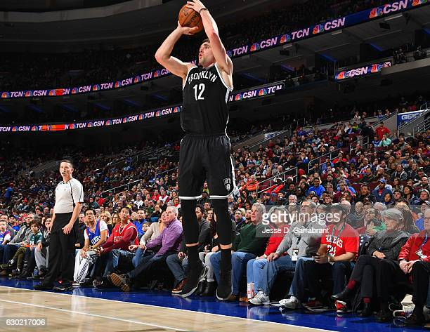 Joe Harris of the Brooklyn Nets shoots the ball against the Philadelphia 76ers at Wells Fargo Center on December 18 2016 in Philadelphia Pennsylvania...