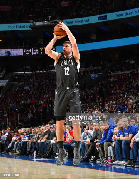 Joe Harris of the Brooklyn Nets shoots the ball against the Philadelphia 76ers at the Wells Fargo Center on March 16 2018 in Philadelphia...