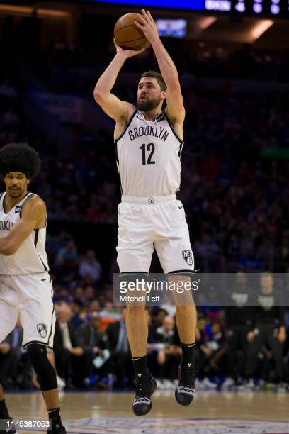 Joe Harris of the Brooklyn Nets shoots the ball against the Philadelphia 76ers in Game Five of Round One of the 2019 NBA Playoffs at the Wells Fargo...
