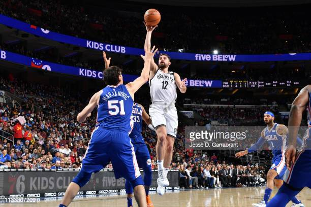 Joe Harris of the Brooklyn Nets shoots the ball against the Philadelphia 76ers on March 28 2019 at the Wells Fargo Center in Philadelphia...