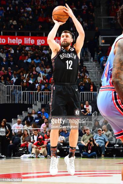 Joe Harris of the Brooklyn Nets shoots the ball against the Atlanta Hawks on March 9 2019 at State Farm Arena in Atlanta Georgia NOTE TO USER User...