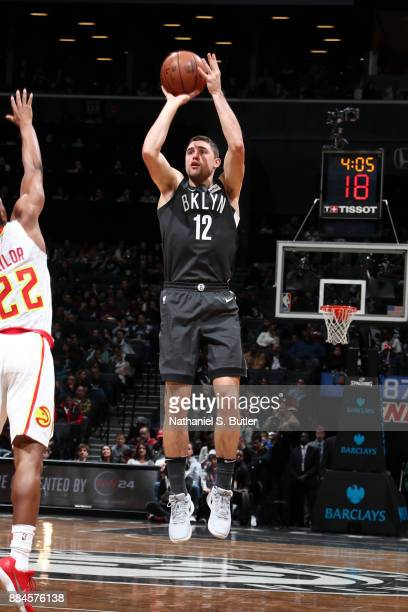 Joe Harris of the Brooklyn Nets shoots the ball against the Atlanta Hawks on December 2 2017 at Barclays Center in Brooklyn New York NOTE TO USER...