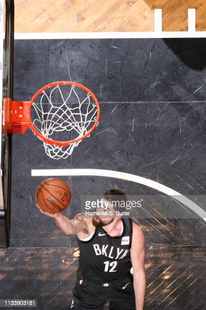 Joe Harris of the Brooklyn Nets shoots the ball against the Boston Celtics on March 30 2019 at Barclays Center in Brooklyn New York NOTE TO USER User...