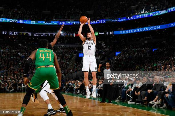 Joe Harris of the Brooklyn Nets shoots the ball against the Boston Celtics on November 27 2019 at the TD Garden in Boston Massachusetts NOTE TO USER...