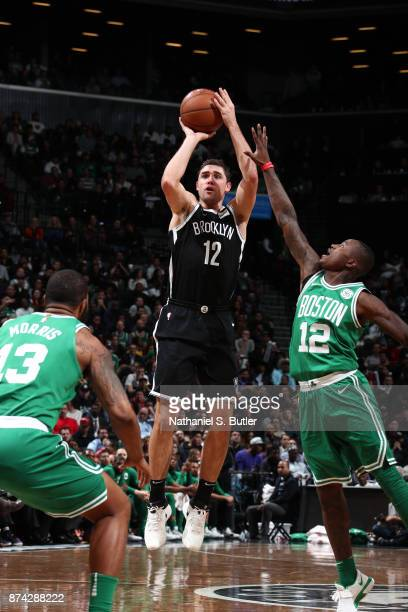 Joe Harris of the Brooklyn Nets shoots the ball against the Boston Celtics on November 14 2017 at Barclays Center in Brooklyn New York NOTE TO USER...
