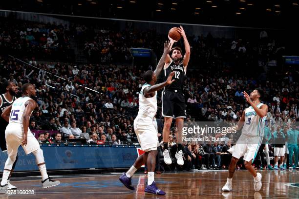 Joe Harris of the Brooklyn Nets shoots the ball against the Charlotte Hornets on December 26 2018 at Barclays Center in Brooklyn New York NOTE TO...