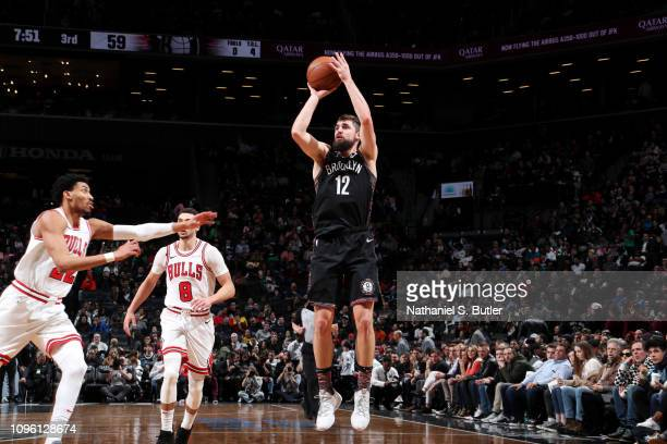Joe Harris of the Brooklyn Nets shoots the ball against the Chicago Bulls on February 8 2019 at Barclays Center in Brooklyn New York NOTE TO USER...